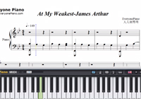 At My Weakest-James Arthur-Free Piano Sheet Music