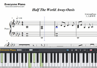 Half The World Away-Oasis-Free Piano Sheet Music