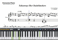 Takeaway-The Chainsmokers-Free Piano Sheet Music