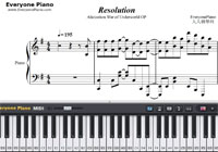 Resolution-Sword Art Online Alicization War of Underworld OP-Free Piano Sheet Music